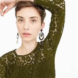 J.Crew Lace Top with Built in Cami In Olive